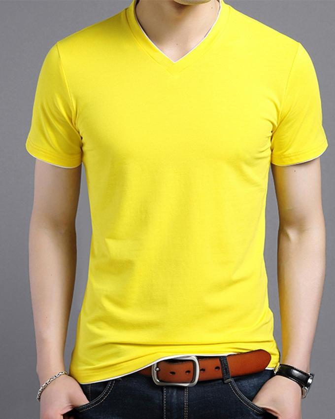 Yellow V-Neck T-Shit For Men - Paksa Pk