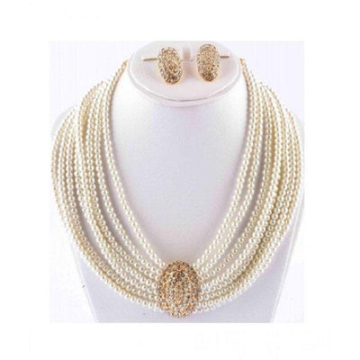 Off White Jewelry Set with Center Golden Stone - Paksa Pk