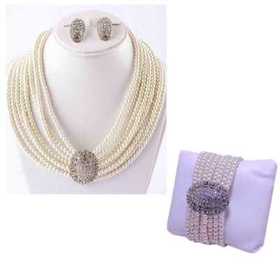 White Jewelry Set & Get Free Bracelet- Off White - Paksa Pk