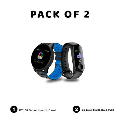 Pack of 2-M3 Smart Health Band-Ky108 Smart Heart Band Blood Pressure - Paksa Pk