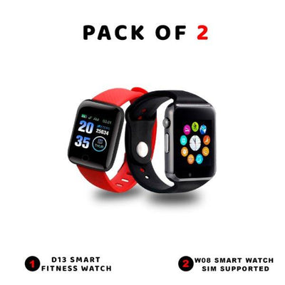 Pack Of 2-D13 Smart Fitness Watch-W08 Smart Sim Supported Watch - Paksa Pk
