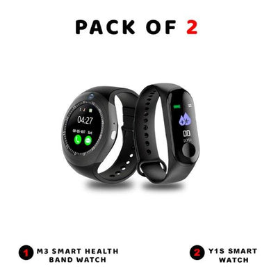 Pack Of 2-M3 Smart Health Band Watch-Y1s Smart Watch GSM Slot - Paksa Pk