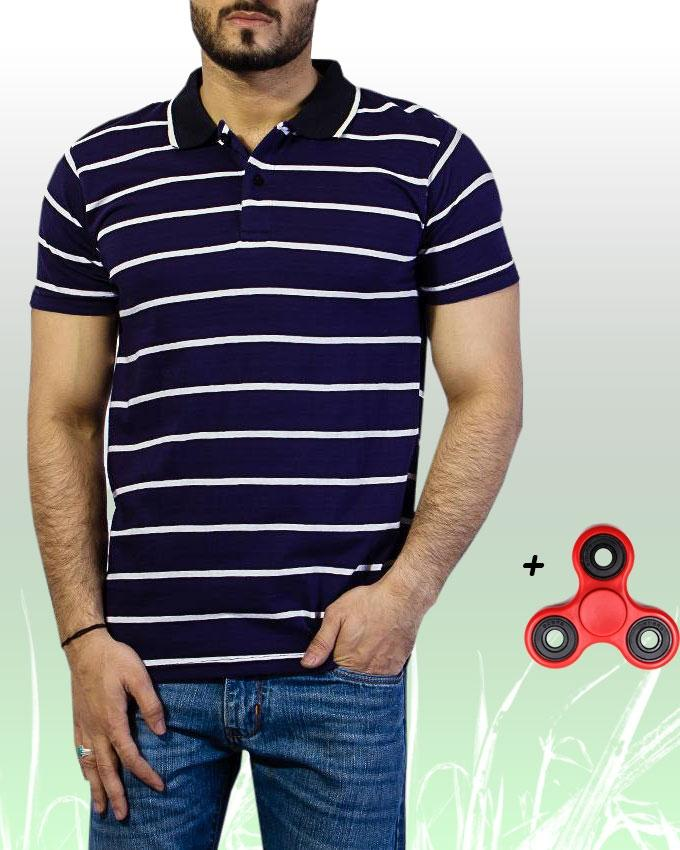 Pack of 2 - Blue Cotton Striped Polo T-Shirt With Free Fidget Spinner For Men - Paksa Pk