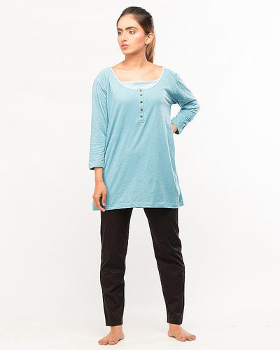 Sky Blue Top With Pajama For Women - Paksa Pk