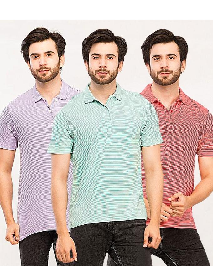 Pack Of 3 Purple, Aqua and Red Lining Polo Shirts For Men - Paksa Pk