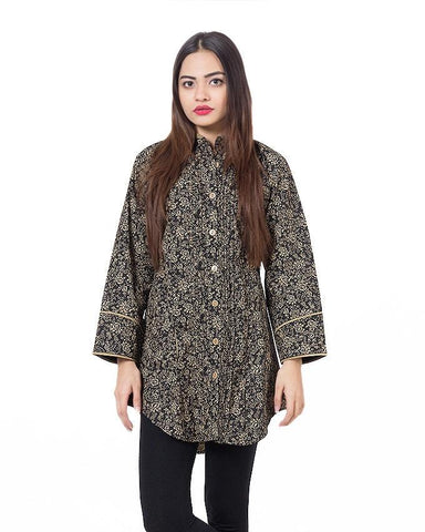 Black Floral Printed Shirt For Women - Paksa Pk
