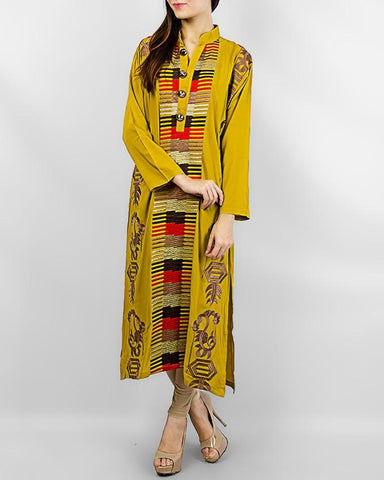 Mustard Boski Kurta With Golden Buttons - Paksa Pk