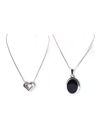 Pack of 2-Round Black Stone & Heart Shape Pendants For Women - Paksa Pk