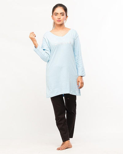 Sky Blue Dream Embroidery Top With Pajama For Women - Paksa Pk