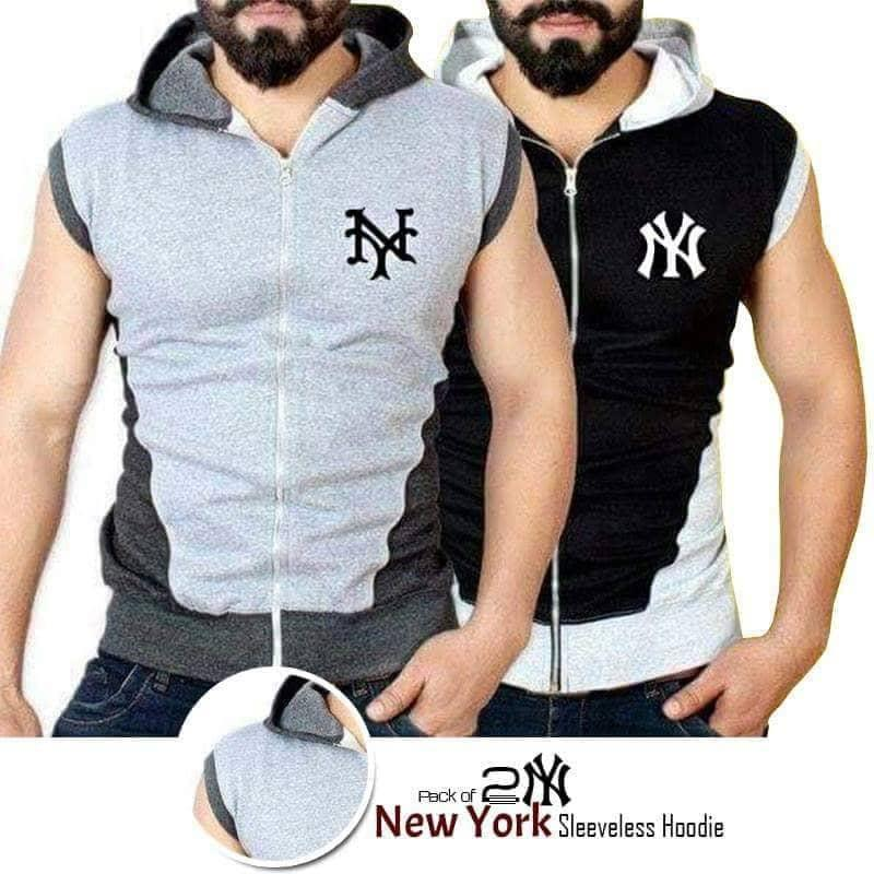 Pack of 2 Sleeveless Black & Grey NY Hoodies For Men - Paksa Pk
