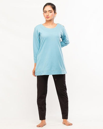 Blue Round Neck Top With Pajama Night Wear For Women - Paksa Pk