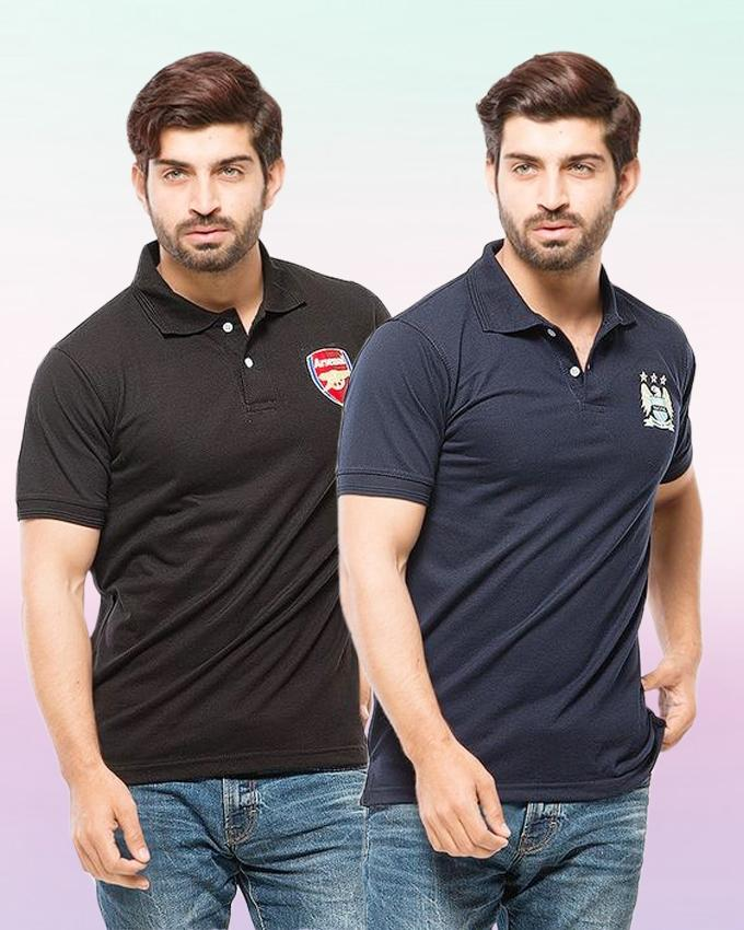 Black And Navy Blue Pack Of 2 Polo T Shirt With Front Logo - Paksa Pk