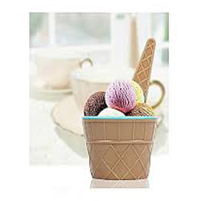 1 Pcs Ice Cream Bowl Plastic Solid Color Cream Cup Couple Bowl With Spoon - Paksa Pk