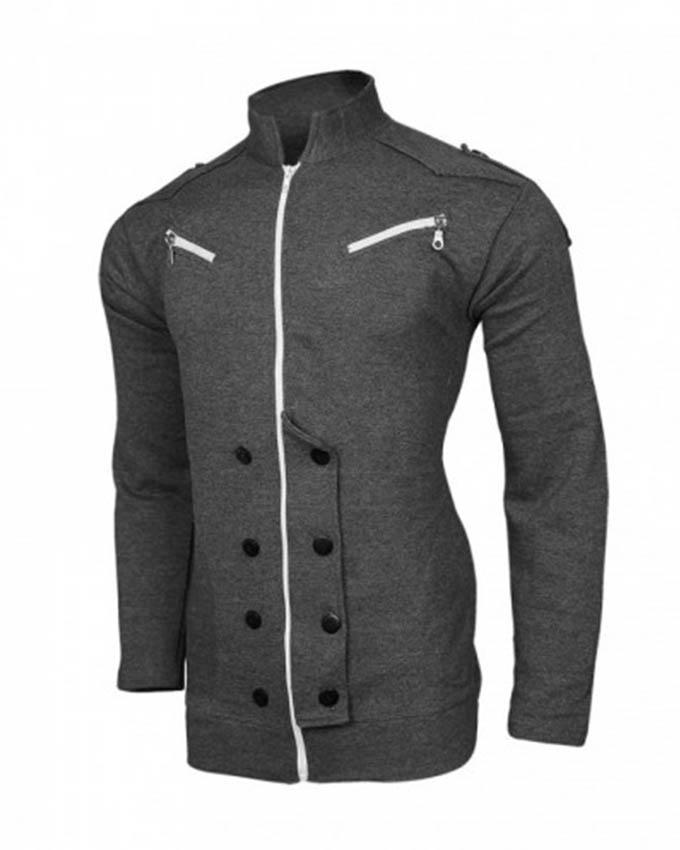 Gray Front Double Zipper Coat For Men - Paksa Pk