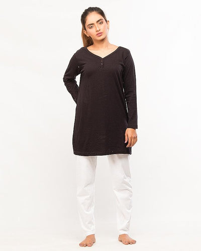 Black Top With Pajama For Women - Paksa Pk