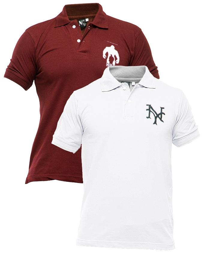 Pack of 2 Maroon & White Polyester & Cotton Polo Shirt with Front Logo for Men - Paksa Pk