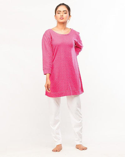 Dotted Top With Pajama Night Wear For Women - Paksa Pk