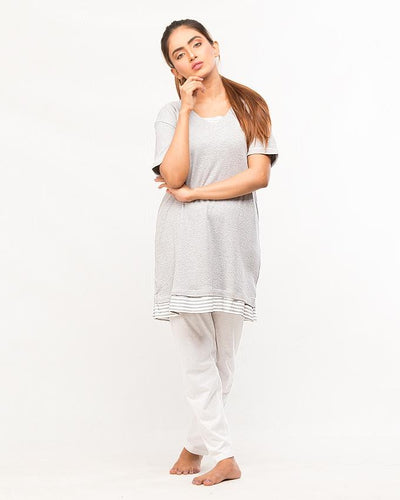 Grey Top With Pajama For Women - Paksa Pk