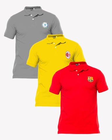 Gray, Red, Yellow pack of  3 Polo T shirts With Front Logo - Paksa Pk