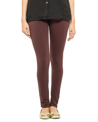 Brown Cotton & Lycra Tights For Women - Paksa Pk