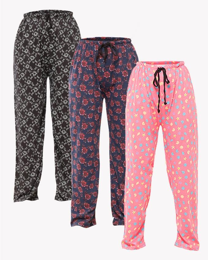 Pack Of 3 Multi color Printed Pajama For Women - Paksa Pk