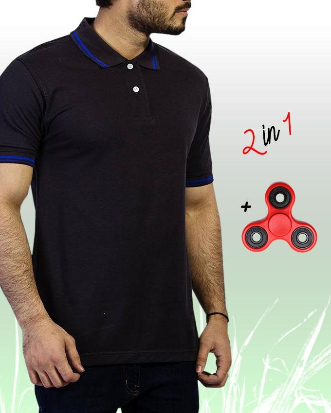 Pack Of 2 Black Cotton Contrast Polo Shirt + Fidget Spinner - Paksa Pk