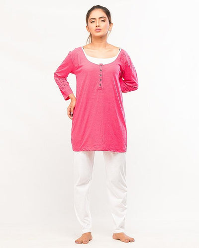Pink Button Strip Top With Pajama For Women - Paksa Pk