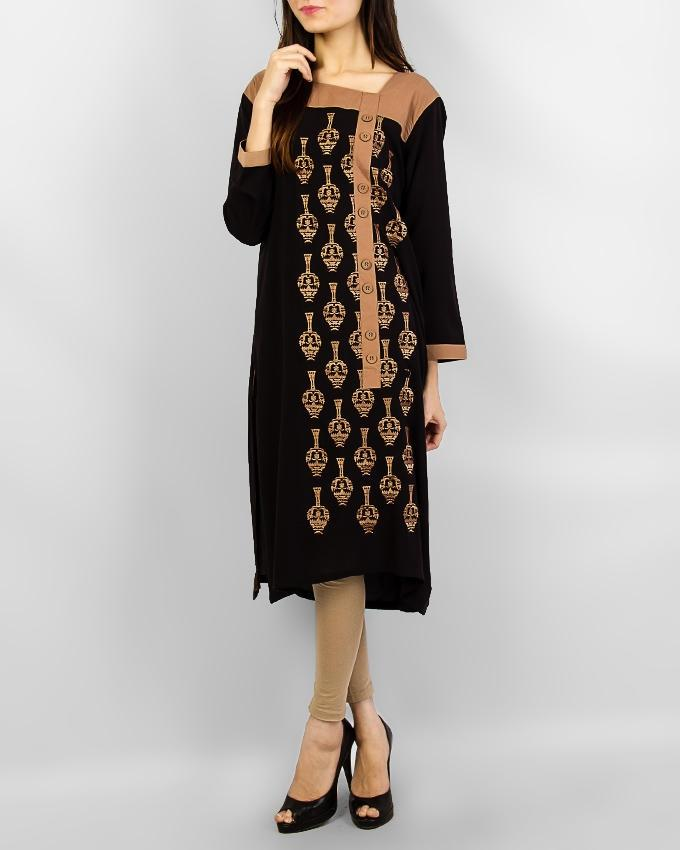Black With Light Brown Design Kurta For Women - Paksa Pk