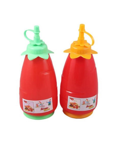 Pack of 2 - 625 ml Red Squeeze Ketchup, Condiment & Sauce Bottles Dispenser - Paksa Pk