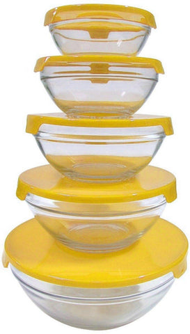 Glass Bowls Set Pack of 5 Transparent & Multicolor - Paksa Pk