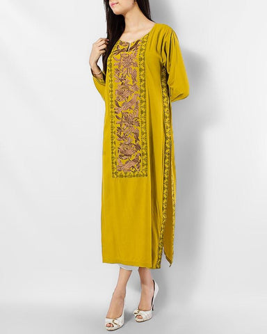 Dark Khaki Embroidered Long Kurta Women's - Paksa Pk