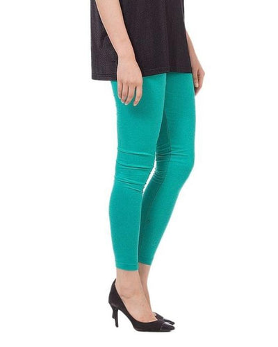 Sea-Green Cotton Tights for Women - Paksa Pk
