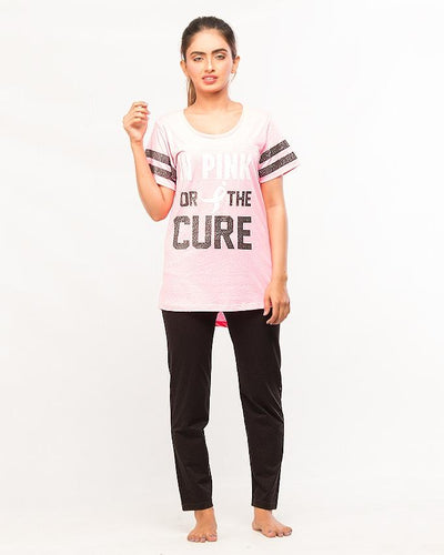 In Pink For The Cure Printed T-Shirt With Pajama For Women - Paksa Pk