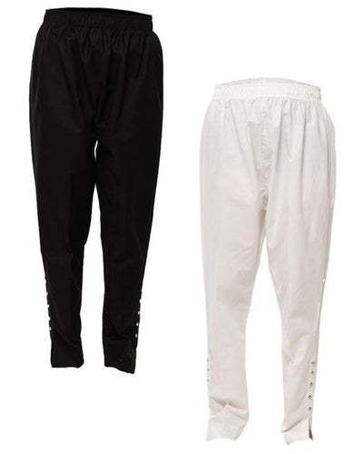 Pack of 2 - Black & White Cotton Cigarette Pants For Women - Paksa Pk