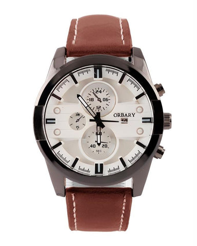 Master Lock Leather Strap Analog Watch Men's - Paksa Pk