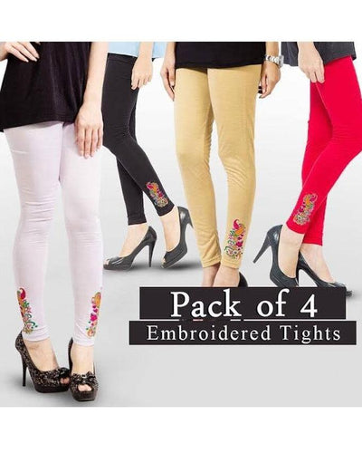 Pack Of 4 – Embroidery Tights For Women - Paksa Pk