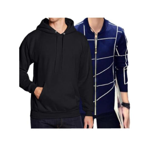 Pack of 2 Black Hoodie & Navy Blue Zipper Jacket For Men - Paksa Pk
