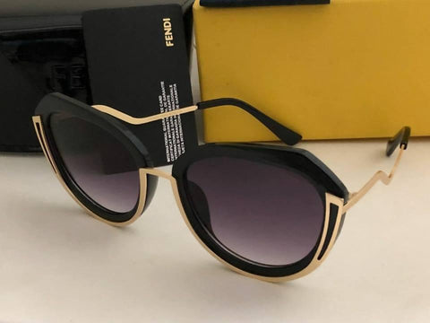 Black Shade Black Frame With Golden Sunglasses For Women - Paksa Pk