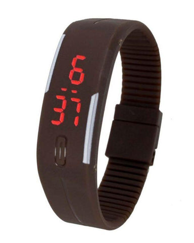 LED Bracelet Digital Watch For Boys - Brown - Paksa Pk