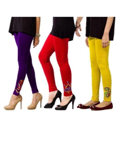 Pack of 3 Printed Tights Multi color For Women - Paksa Pk