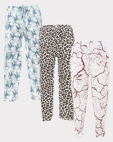 Pack of 3 - Multi-color Cotton Printed Trouser For Women - Paksa Pk
