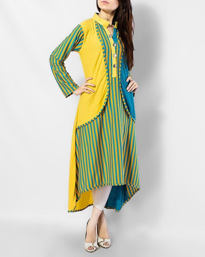 Yellow Linen Stylish Kurta With Silver Button - Paksa Pk