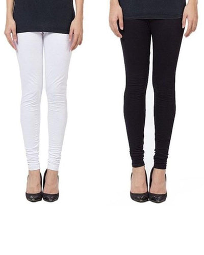 Pack Of 2 Black & White Cotton Tights For Women - Paksa Pk