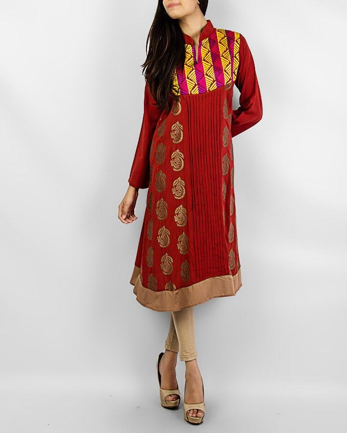 Maroon Boski Kurta With Multi Color Design - Paksa Pk