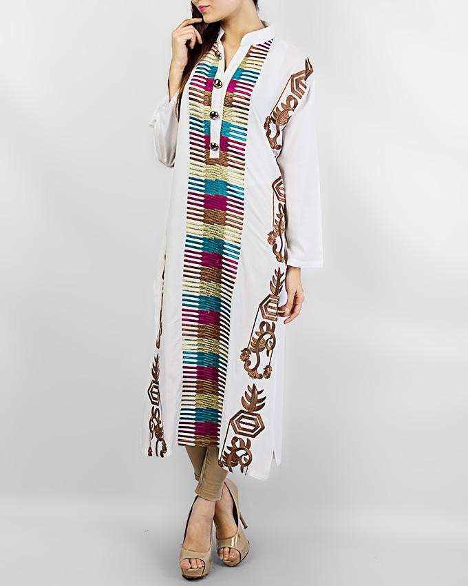 White Boski Kurta With Buttons For Women - Paksa Pk