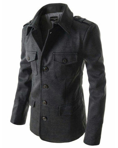 Steel Grey Front Pocket Coat For Men - Paksa Pk