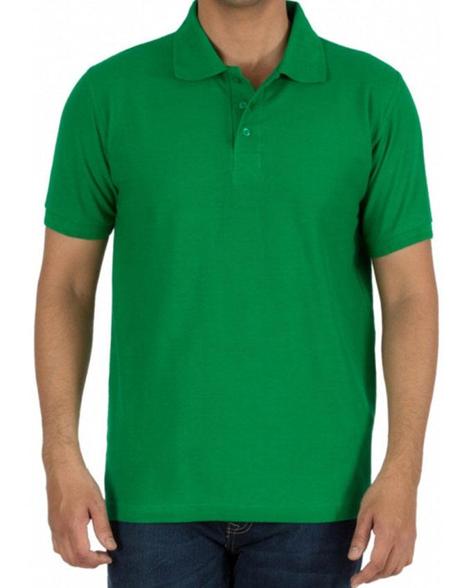 Green Cotton Plain Polo T-Shirt for Men - Paksa Pk