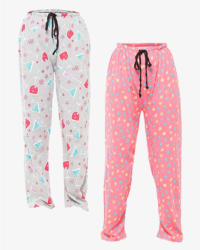 Pack of 2 - Multicolor Cotton Pajamas For Women - Paksa Pk