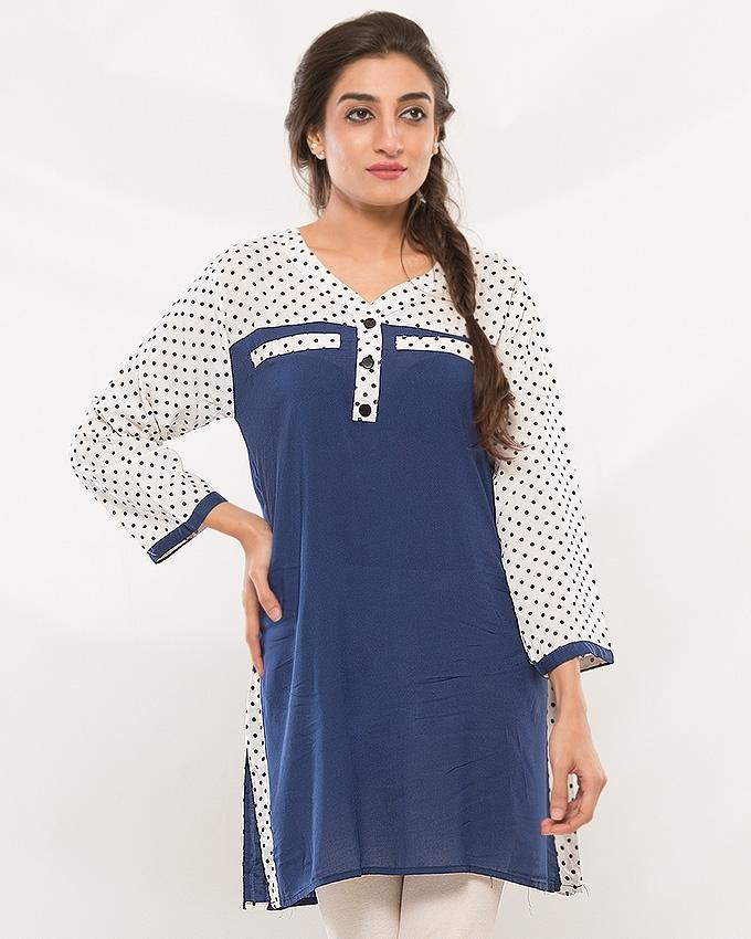 Blue & White Kurti For Women - ABZ-2236 - Paksa Pk