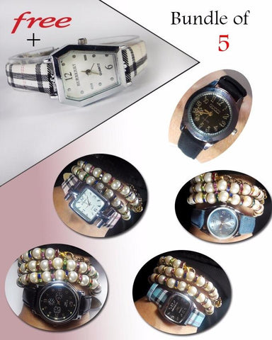 Bundle Of 5 Leather Strap Watches + 1 Watch Free For Women - ABZ-2316 - Paksa Pk